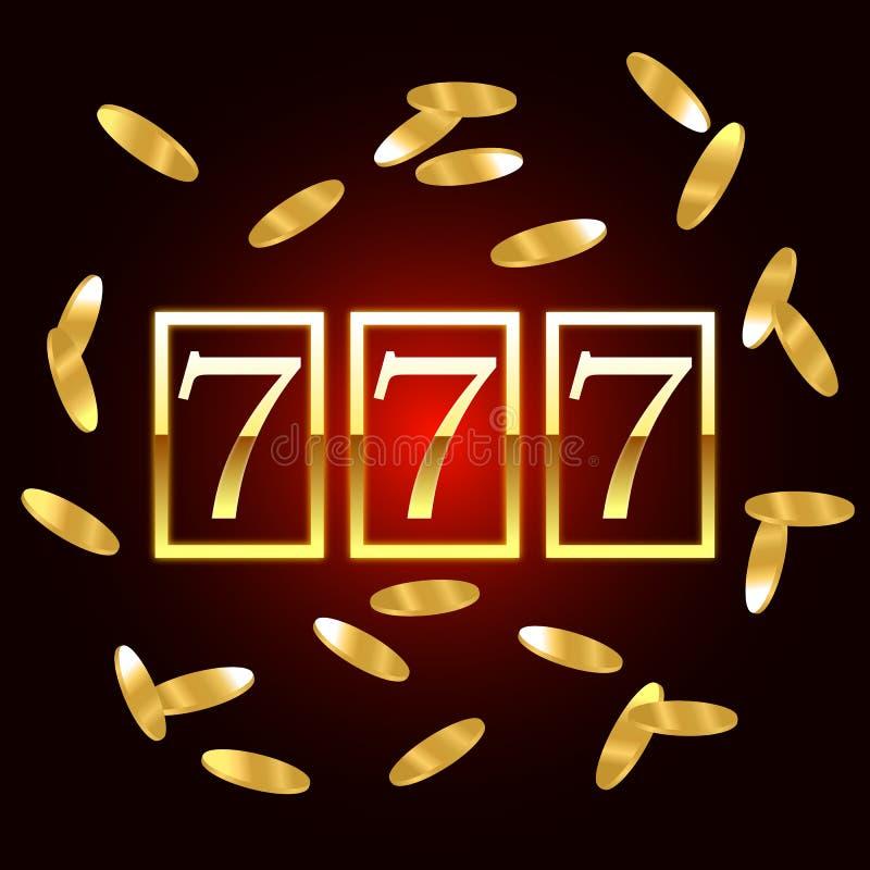 Großer Gewinn kerbt 777 für Fahnenkasinojackpot Auch im corel abgehobenen Betrag stock abbildung