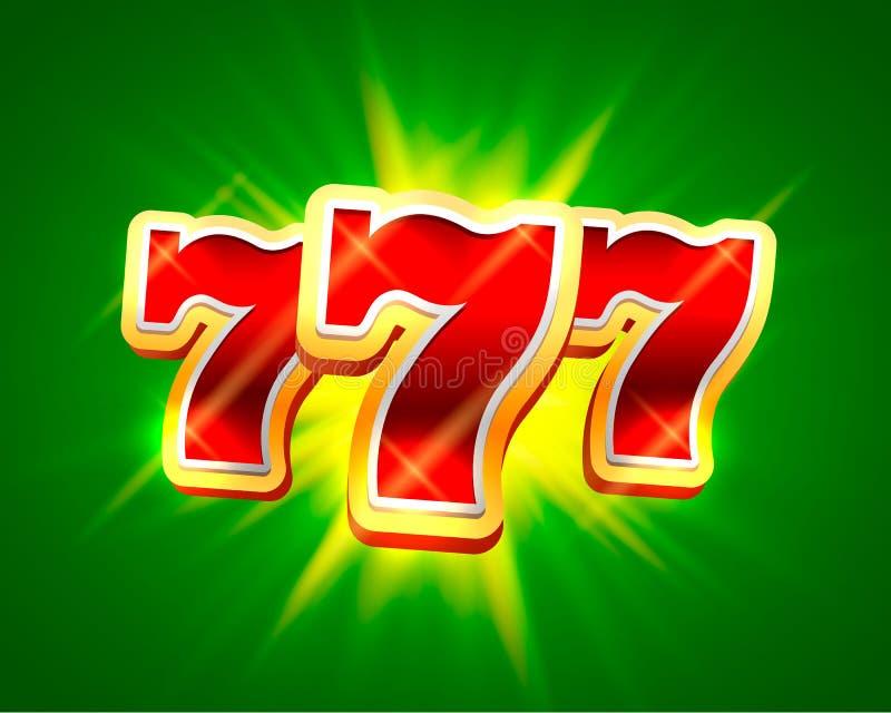 Großer Gewinn kerbt Kasinohintergrund mit 777 Fahnen stock abbildung
