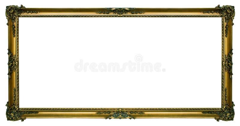 Großer Goldlandschaftsbilderrahmen stockbild