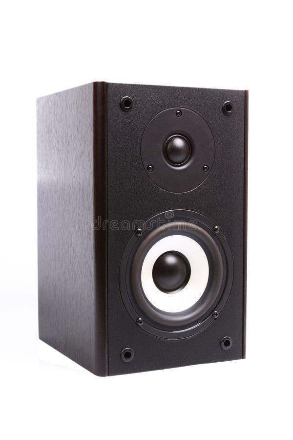 Großer brauner rechteckiger Sprecher lokalisiert auf weißem Hintergrund lizenzfreie stockfotos