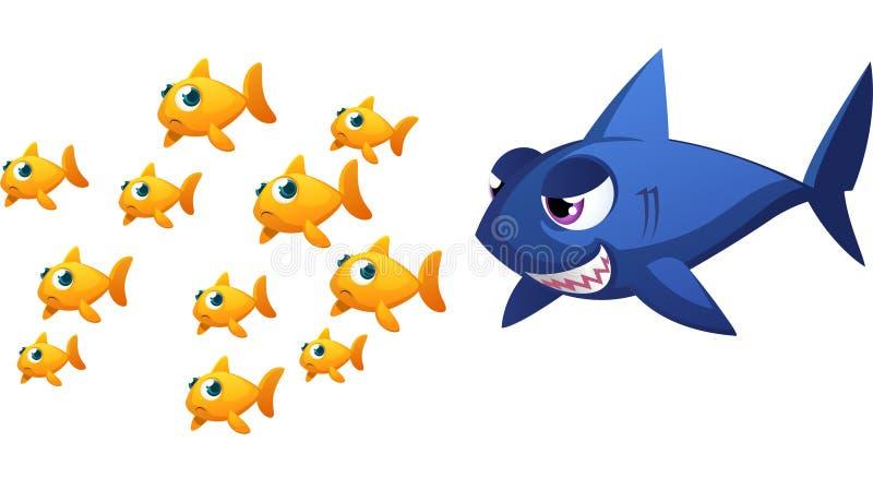 Großer Haifisch gegen Fische stock abbildung