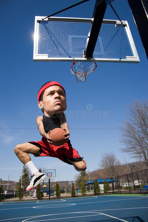 Großer HauptBasketball-Spieler stockbilder