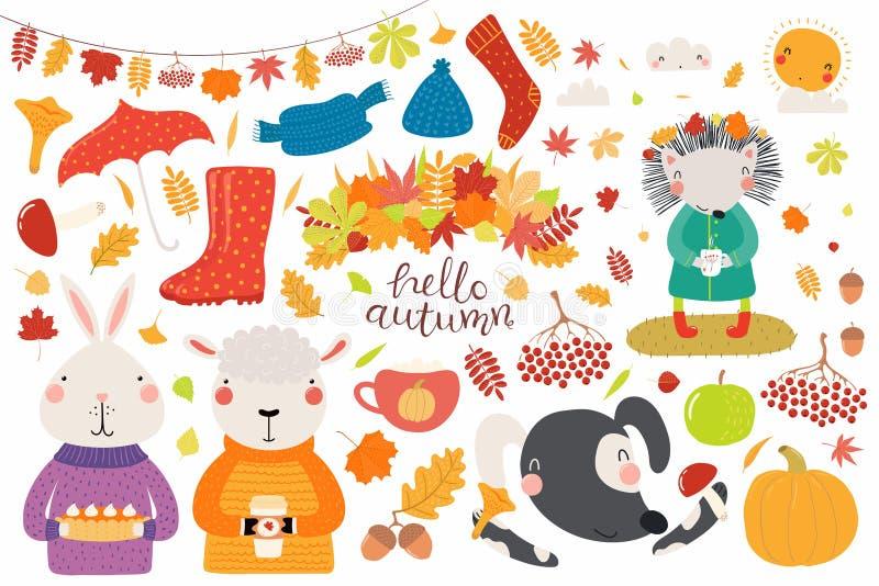 Großer Herbst eingestellt mit netten Tieren lizenzfreie abbildung