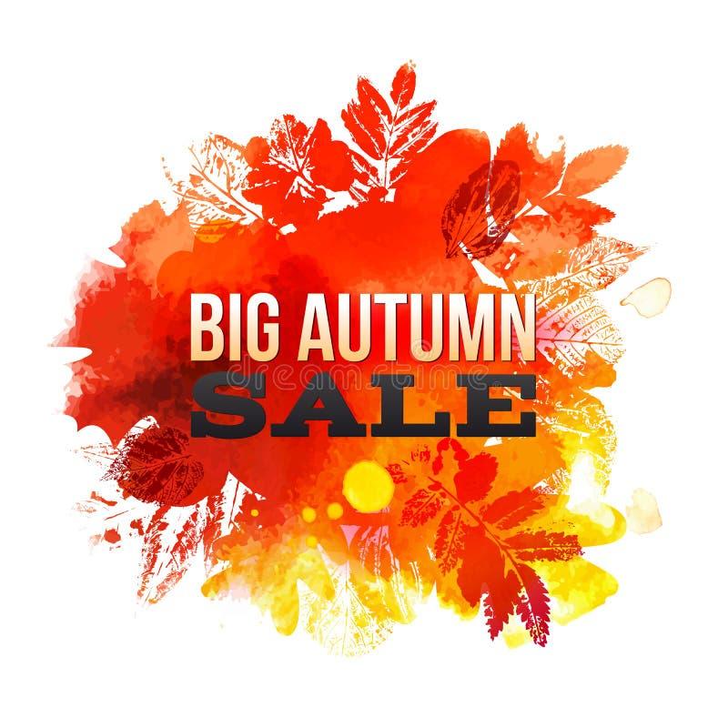 Großer Herbst Verkauf mit Aquarellblättern stock abbildung