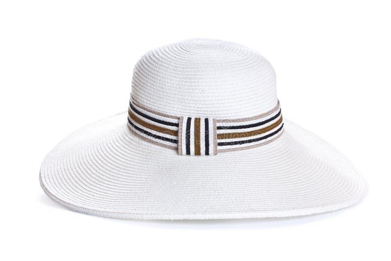 Großer Hut der weißen Frau auf weißem Hintergrund lizenzfreie stockfotografie