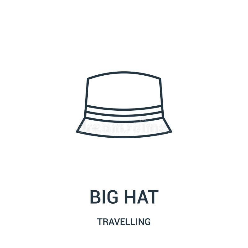 großer Hutikonenvektor von reisender Sammlung Dünne Linie große Hutentwurfsikonen-Vektorillustration Lineares Symbol stock abbildung