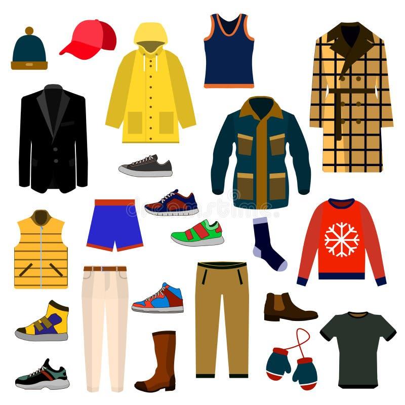 Großer Ikonensatz der Kleidungs-und Zubehör Mode Mannkleidungsvektorillustrations-Ikonensatz stock abbildung
