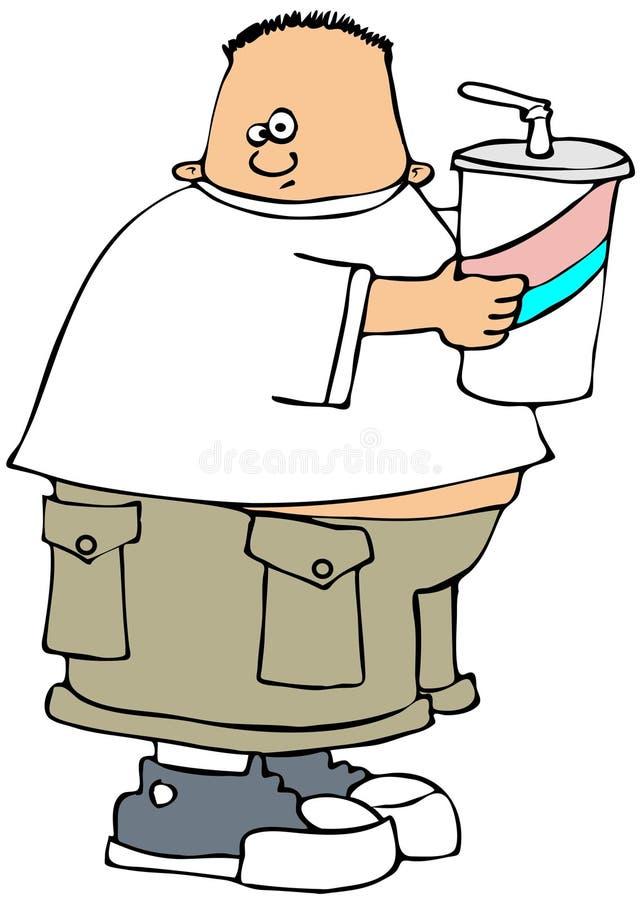 Großer Junge mit einem großen Getränk stock abbildung