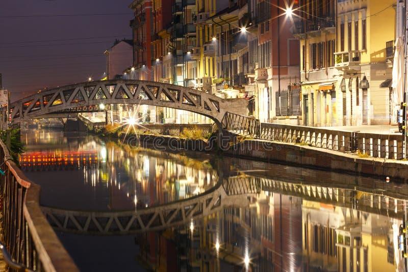 Großer Kanal Naviglio in Mailand, Lombardia, Italien stockfotos