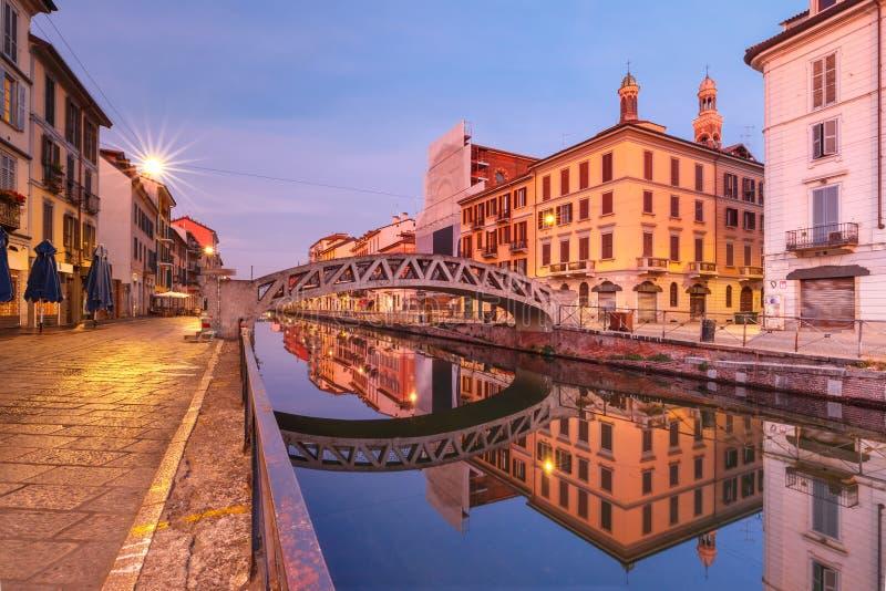 Großer Kanal Naviglio in Mailand, Lombardia, Italien stockfoto