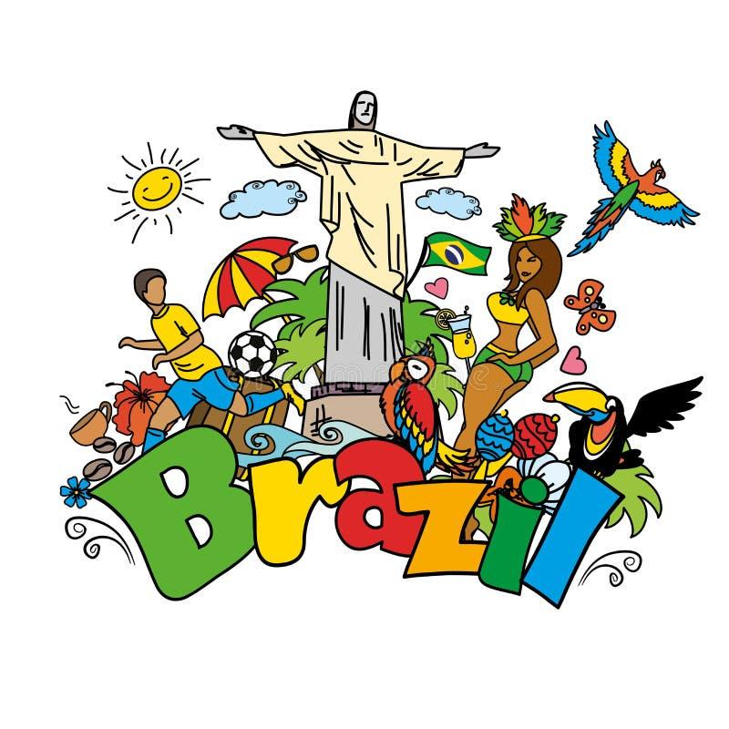 Großer Karikatursatz brasilianische Schablonen lizenzfreie abbildung