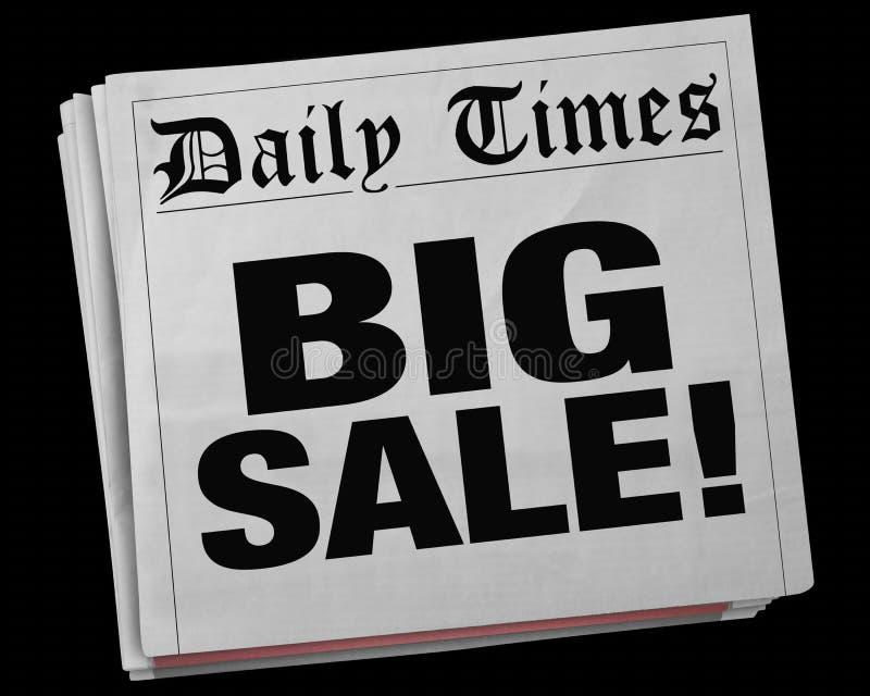 Großer Kranke der Verkaufs-Anzeigen-Freigaben-Ereignis-Zeitungs-Schlagzeilen-3d vektor abbildung
