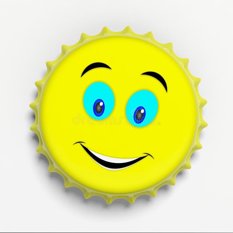 Großer Lächeln Emoticon auf einer gelben Bierkappe lokalisiert auf weißem Hintergrund, Draufsicht Abbildung 3D lizenzfreie abbildung