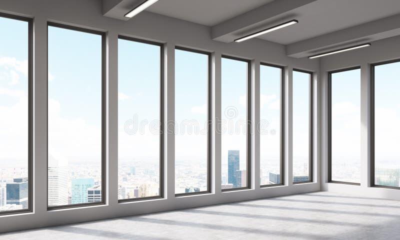 Großer leerer Büroraum mit panoramischen Fenstern lizenzfreie abbildung