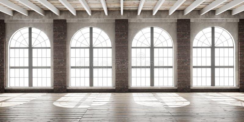 Großer leerer Raum in der Dachbodenart lizenzfreie stockbilder