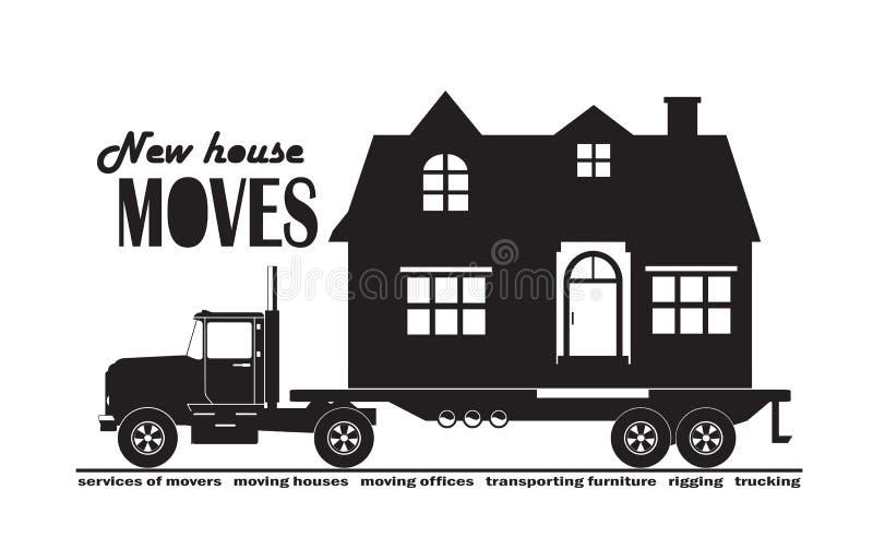 großer LKW, der ein Landhaus, Service für die Bewegung eines Hauses, schnelle Lieferung transportiert lizenzfreie abbildung