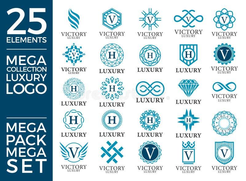 Großer Luxus-Satz-, königlicher und eleganterlogo template vector design lizenzfreie abbildung