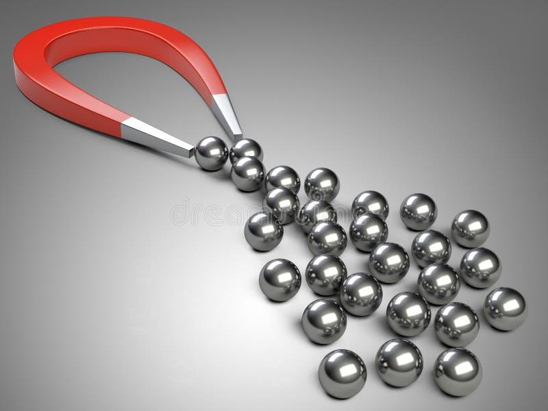 Großer Magnet, der Chromlagerball anzieht stock abbildung
