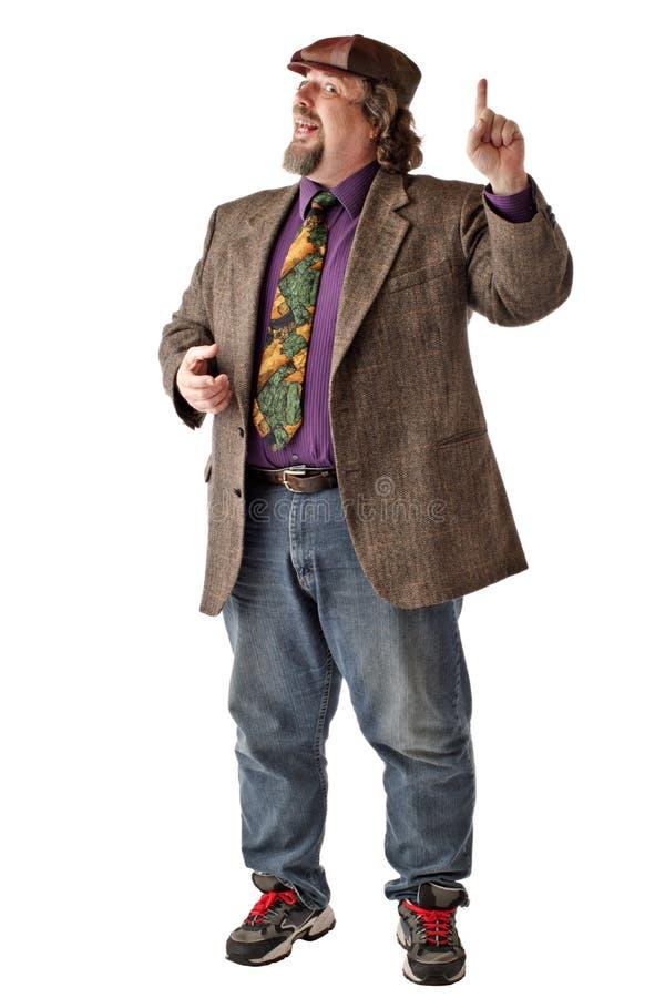 Großer Mann steht mit dem angehobenen Zeigefinger lizenzfreies stockfoto