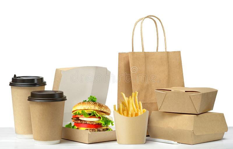Großer Mittagessensatz des Schnellimbisses lokalisiert auf Weiß lizenzfreie stockbilder