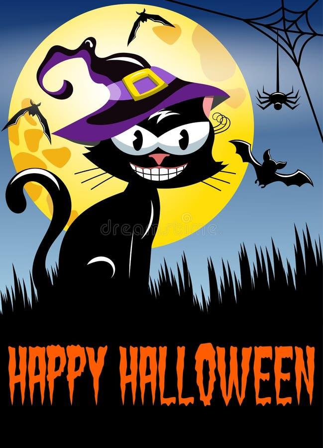 Großer Mond der glücklichen Halloween-Nachthintergrund-Katze vektor abbildung
