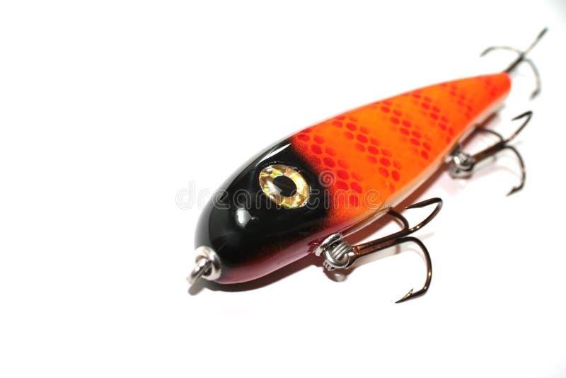 Großer orange Fischen-Köder lizenzfreies stockfoto