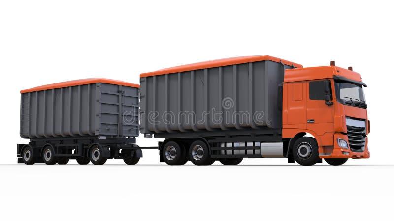Großer orange LKW mit unterschiedlichem Anhänger, für Transport von landwirtschaftlichen und errichtenden Massenmaterialien und v vektor abbildung