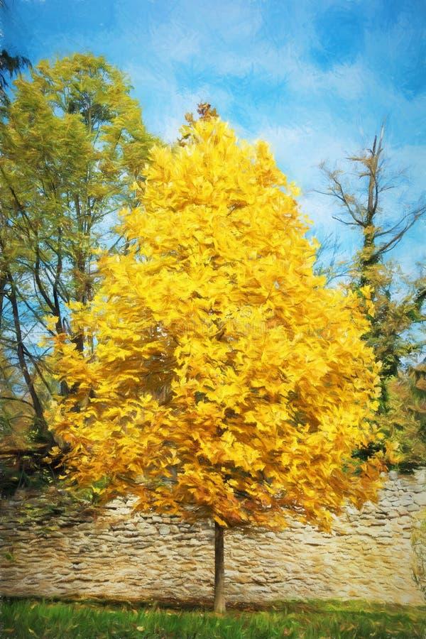 Großer Orangenbaum und blauer Himmel, Herbstszene, bunter November, i vektor abbildung