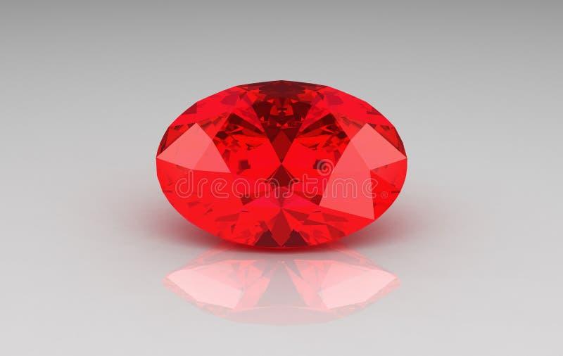 Großer ovaler roter karminroter Edelstein stock abbildung