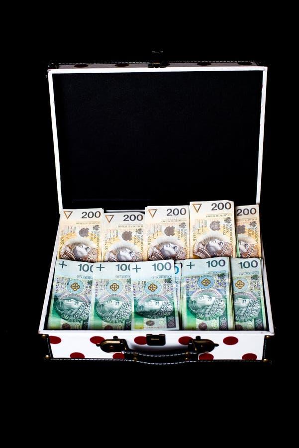 Großer Preis auf Lotterie - polnisches Geld in colorfull Aktenkoffer stockfoto