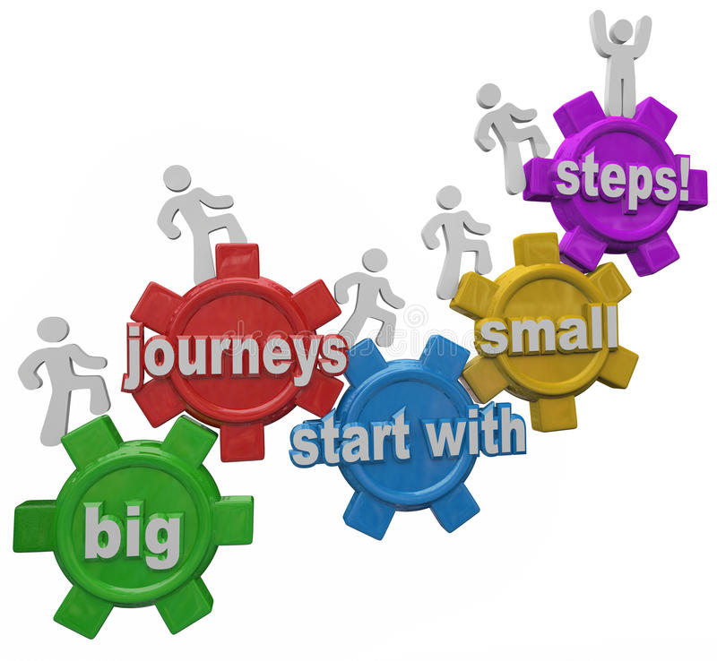 Großer Reise-Anfang mit den kleinen Schritt-Leuten, die herauf das Klettern marschieren lizenzfreie abbildung