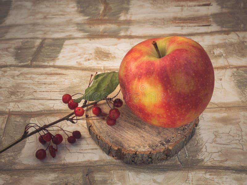 Großer roter Apfel und ein Zweig von wilden kleinen Äpfeln auf einer hölzernen Säge stockfotografie