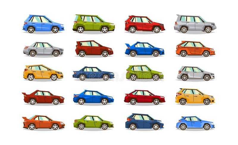Großer Satz Autos Sammelfahrzeug Limousine, Hecktürmodell, offener Tourenwagen, SUV Das Bild von Spielzeugmaschinen Lokalisierte  stock abbildung