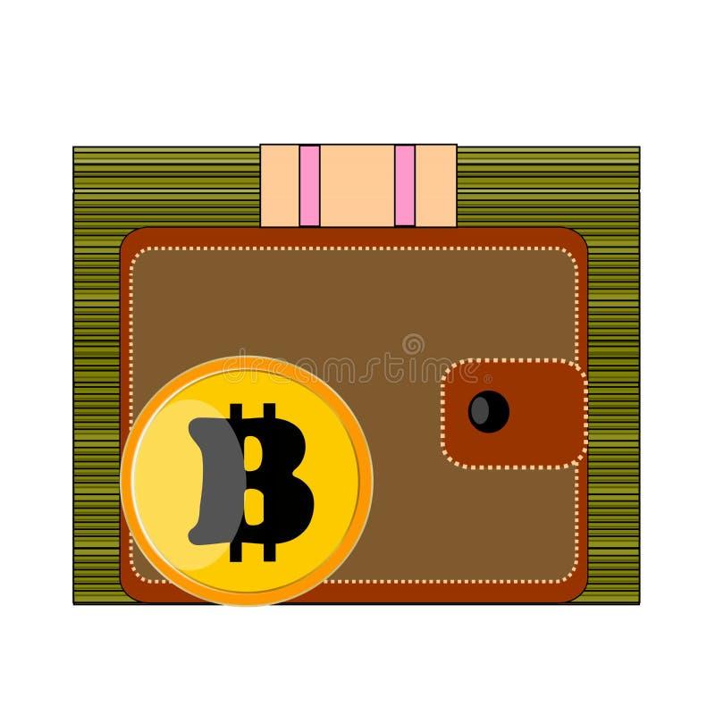Großer Satz Bargeldgründollar, brauner Geldbeutel, Gelb, Gold, Münze Bitcoin auf weißem Hintergrund stockfoto