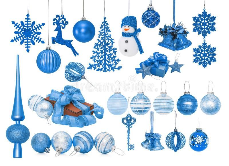 Großer Satz blauer Flitter des neuen Jahres für Weihnachtsbaum stock abbildung