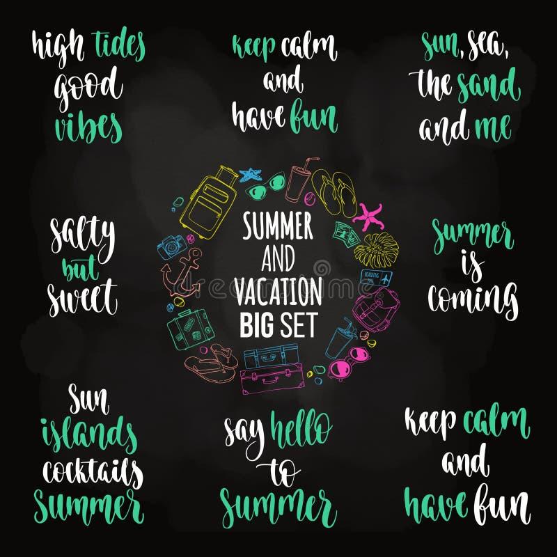 Großer Satz der modernen Kalligraphieart-Sommerferien-Phrase stock abbildung