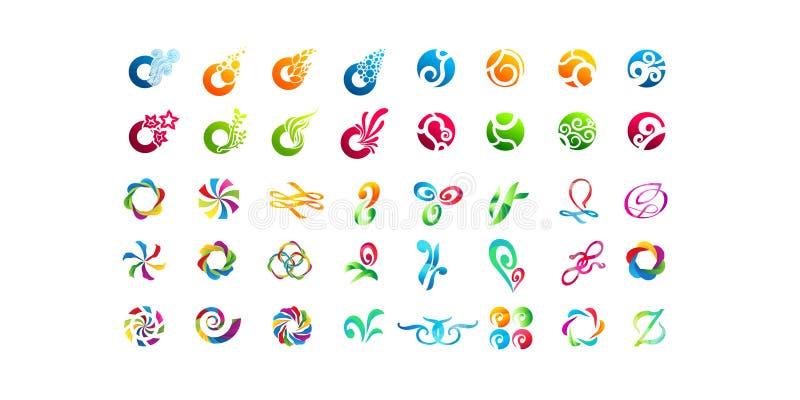 Großer Satz des minimalen geometrischen Mehrfarbensymbolsatzes formt Modische Ikonen und Firmenzeichen Geschäft unterzeichnet Sym vektor abbildung