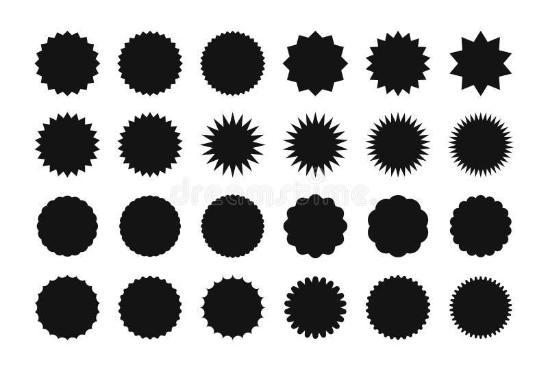 Großer Satz des starburst Verkaufs-Aufkleberaufklebers Sonnendurchbruch-Preisrabattaufkleber, Einkaufen, Verkauf, Sonderangebotau lizenzfreie abbildung
