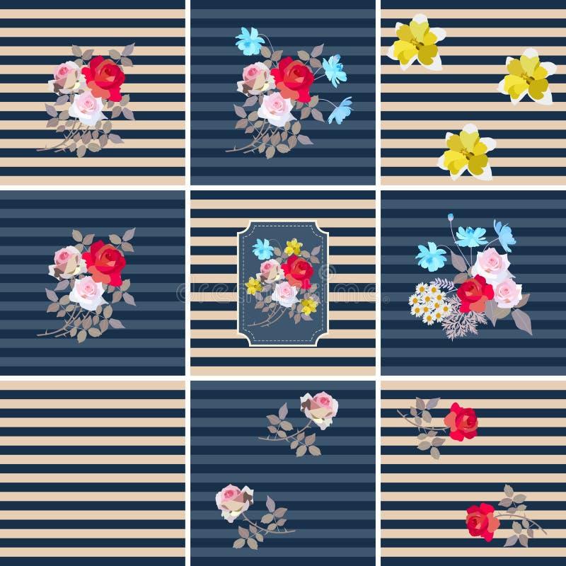Großer Satz des verschiedenen gestreiften mit Blumenmusters Palmen mit dem Meer und dem hölzernen Brett Rand der Farbband-, Lorbe stock abbildung