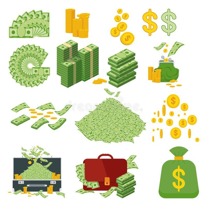 Großer Satz Geld stock abbildung
