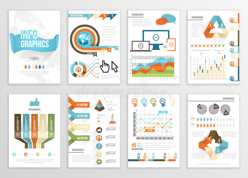 Großer Satz Infographics-Element-Geschäfts-Illustrationen, Flieger, Darstellung Moderne Informations-Grafiken und Social Media-Ve lizenzfreie abbildung