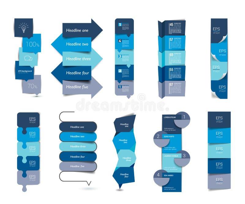 Großer Satz infographics schrittweise vertikal Tabelle, Elemente, Zeitpläne, Fahnen, Diagramme lizenzfreie abbildung