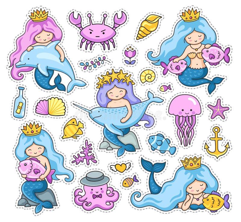 Großer Satz kleine Meerjungfrauaufkleber stock abbildung
