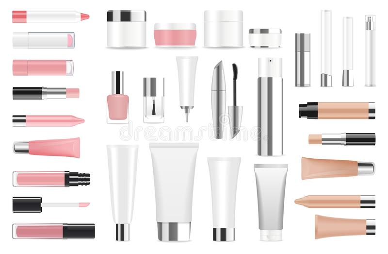 Großer Satz kosmetische Behälter und Flaschen lizenzfreie abbildung