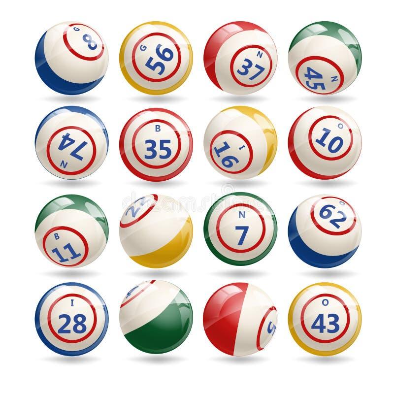 Großer Satz Lotterie-Bingo-Bälle stock abbildung