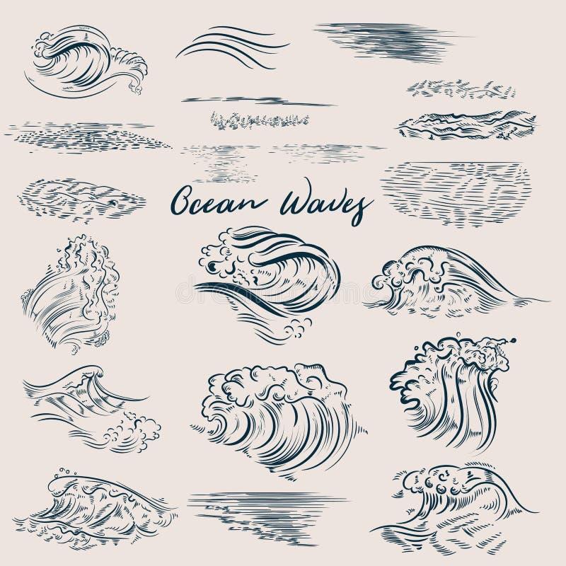 Großer Satz Ozean gezeichnete Wellen lizenzfreie abbildung