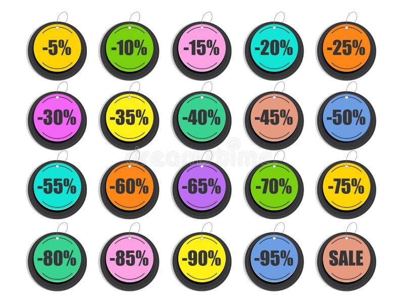 Großer Satz Rabatt-Aufkleber, Tags oder Aufkleber vektor abbildung