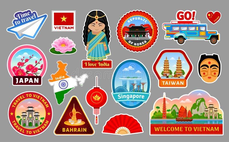 Großer Satz Reiseaufkleber des Asiens stock abbildung