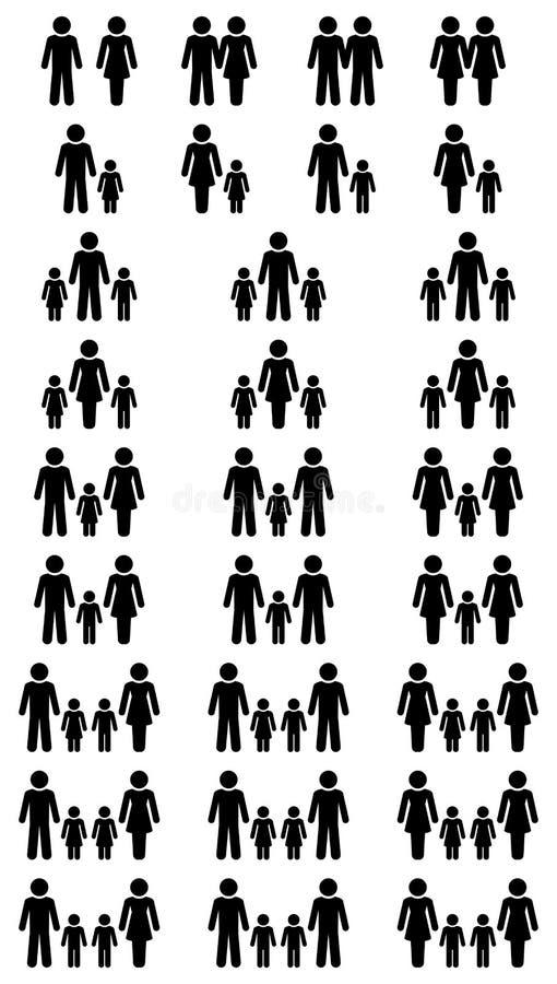 Großer Satz schwarze Familien-Ikonen-verschiedene Konstellationen vektor abbildung