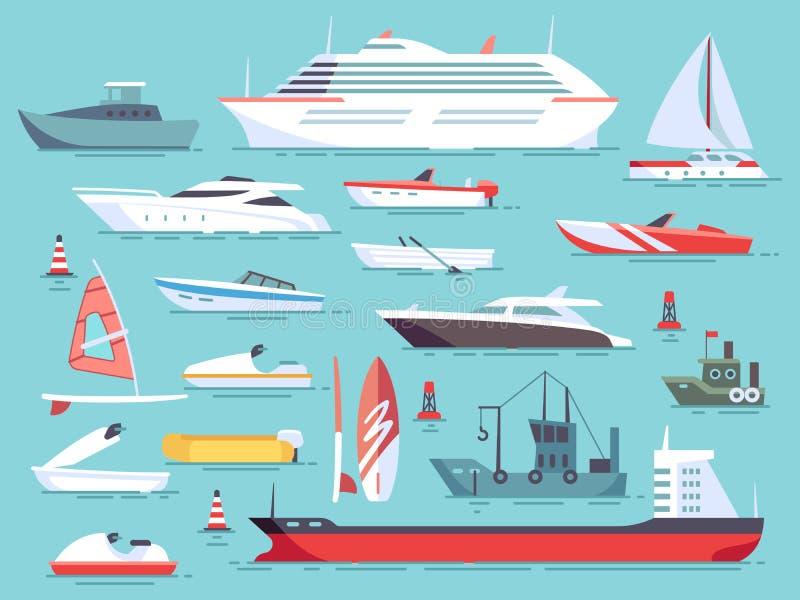 Großer Satz Seeboote und wenige Fischenschiffe Flache Vektorikonen der Segelboote lizenzfreie abbildung